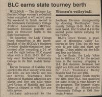 "Bethany Lutheran College 1985 newspaper clipping ""BLC earns state tourney berth"""