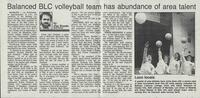 "Mankato Free Press article 1985 ""Balanced BLC volleyball team has abundance of area talent"""
