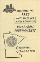 Bethany Lutheran College 1985 MCCC and NJCAA Region XIII volleyball tournament program