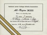 Bethany Lutheran College 1985 NJCAA certificate for volleyball player Karen Swanson