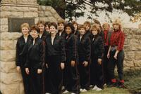 Bethany Lutheran College 1986 portrait of the volleyball team at gate