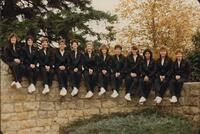 Bethany Lutheran College 1986 portrait of the volleyball team on gate wall