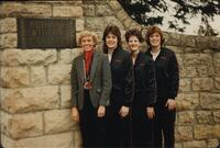 Bethany Lutheran College 1986 portrait of coach and 3 volleyball players