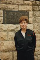 Bethany Lutheran College 1986 portrait of volleyball player Ruth Moldstad