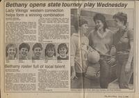 "Mankato Free Press article November, 1986 ""Bethany opens state tourney play Wednesday"""