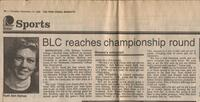"Mankato Free Press article November, 1986 ""BLC reaches championship round"""