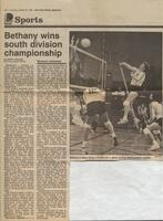 "Mankato Free Press article October, 1986, ""Bethany wins south division championship"""