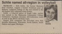 "Bethany Lutheran College 1986 newspaper clipping ""Schlie named all-region in volleyball"""