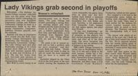 "Mankato Free Press article November, 1986, ""Lady Vikings grab second in playoffs"""