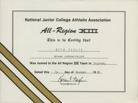 Bethany Lutheran College 1986 NJCAA certificate for volleyball player Beth Schlie