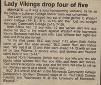 "Bethany Lutheran College 1987 volleyball newspaper clipping ""Lady Vikings drop four of five"""