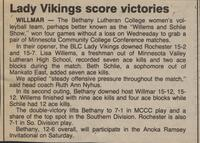 "Bethany Lutheran College 1987 volleyball newspaper clipping ""Lady Vikings score victories"""