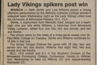 "Bethany Lutheran College 1987 volleyball newspaper clipping ""Lady Vikings spikers post win"""