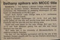 "Bethany Lutheran College 1987 volleyball newspaper clipping ""Bethany spikers win MCCC title"""