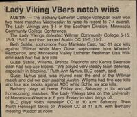 "Bethany Lutheran College 1987 volleyball newspaper clipping ""Lady Viking VBers notch wins"""