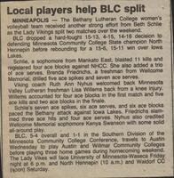 "Bethany Lutheran College 1987 volleyball newspaper clipping ""Local players help BLC split"""