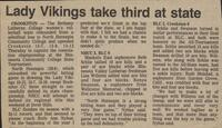 "Bethany Lutheran College 1987 volleyball newspaper clipping ""Lady Vikings take third at state"""