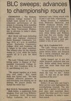 "Bethany Lutheran College 1987 volleyball newspaper clipping ""BLC sweeps; advances to championship round"""