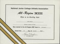 Bethany Lutheran College 1987 NJCAA certificate for volleyball player Beth Schlie