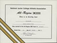 Bethany Lutheran College 1987 NJCAA certificate for volleyball player Lisa Willems