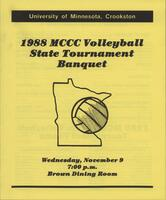 MCCC 1988 state volleyball tournament banquet program