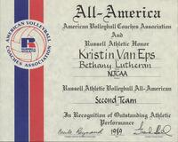 Bethany Lutheran College 1989 All-America certificate for volleyball player Kris Van Eps