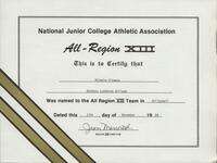 Bethany Lutheran College 1989 NJCAA certificate for volleyball player Michele Oltmans