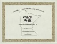 Bethany Lutheran College 1989 MCCC certificate for volleyball coach Ruth Ann Nyhus