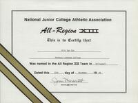 Bethany Lutheran College 1989 NJCAA certificate for volleyball player Kris Van Eps
