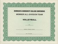 Bethany Lutheran College 1991 MCCC certificate for volleyball player Jodi Stallkamp