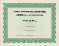 Bethany Lutheran College 1991 MCCC certificate for volleyball player Jenny Winning