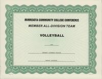 Bethany Lutheran College 1991 MCCC certificate for volleyball player Marnie Jacobson