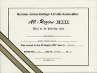 Bethany Lutheran College 1991 NJCAA certificate for volleyball player Jenny Winning