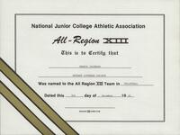 Bethany Lutheran College 1991 NJCAA certificate for volleyball player Marnie Jacobson
