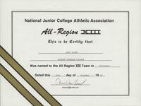 Bethany Lutheran College 1992 NJCAA certificate for volleyball player Jorji Allen