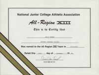 Bethany Lutheran College 1992 NJCAA certificate for volleyball player Kelly Behnke