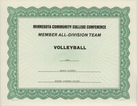 Bethany Lutheran College 1992 MCCC certificate for volleyball player Marnie Jacobson