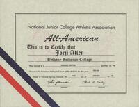 Bethany Lutheran College 1993 NJCAA certificate for volleyball player Jorji Allen
