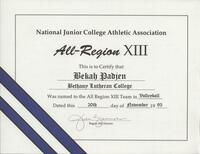 Bethany Lutheran College 1993 NJCAA certificate for volleyball player Bekah Padjen