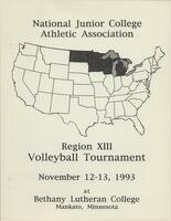 NJCAA 1993 region XIII volleyball tournament program