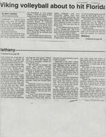 "Bethany Lutheran College 1994 volleyball newspaper clipping ""Viking volleyball about to hit Florida"""