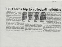 "Bethany Lutheran College 1994 volleyball newspaper clipping ""BLC earns trip to volleyball nationals"""
