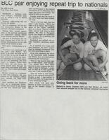 "Mankato Free Press article November 1994, ""BLC pair enjoying repeat trip to nationals"""