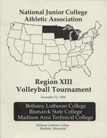 NJCAA 1994 region XIII volleyball tournament program